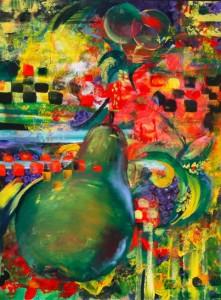 Frute Basquit - original abstract oil painting of fruit basket in vivid colors